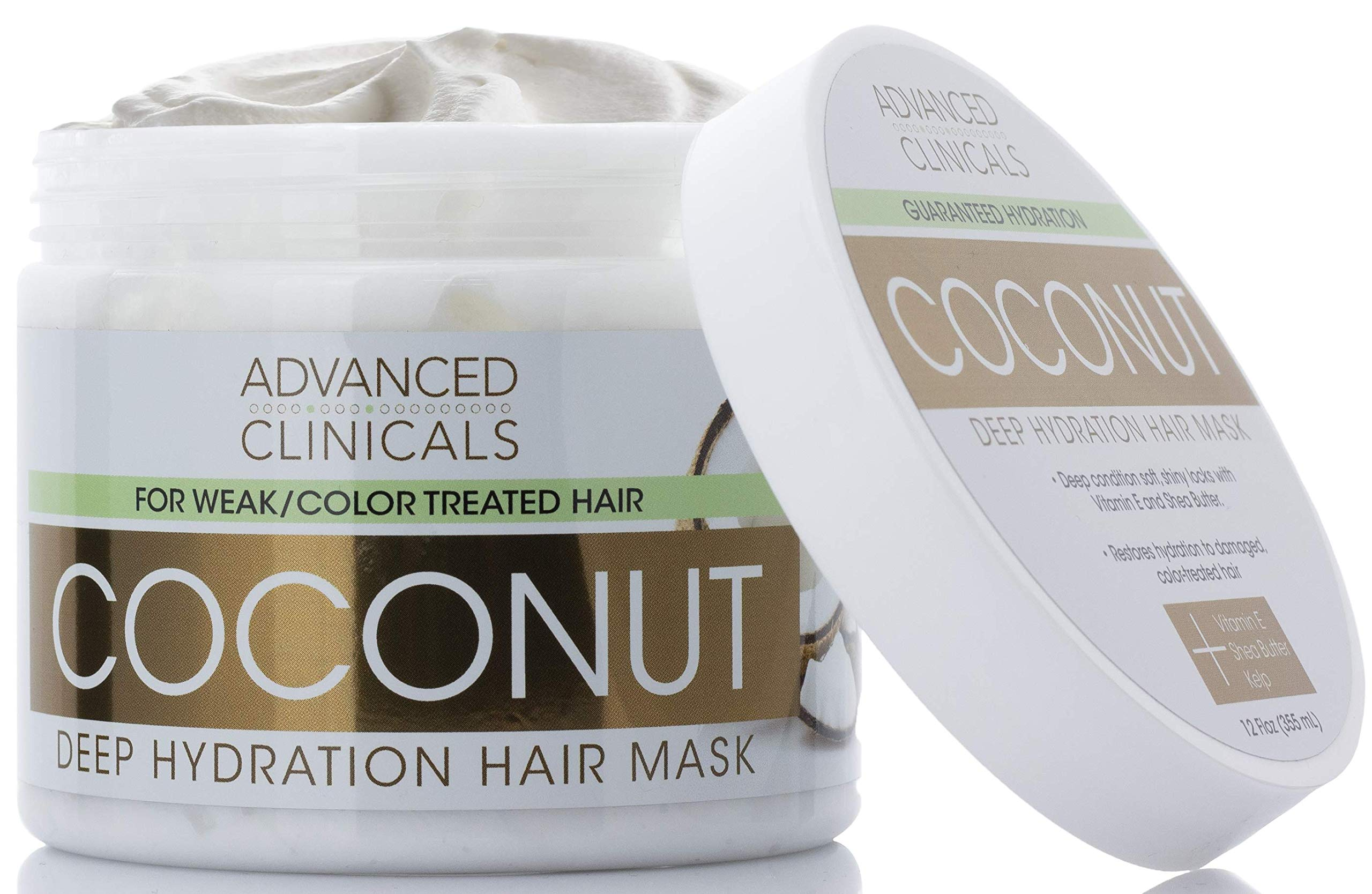 Advanced Clinicals Coconut Oil Deep Hydration Hair Repair Mask. Moisturizing Deep Conditioner to Strengthen Dry, Color-Treated, Weak Hair. Boost Growth w/Shea Butter & Kelp Strengthening Mask, 12 oz