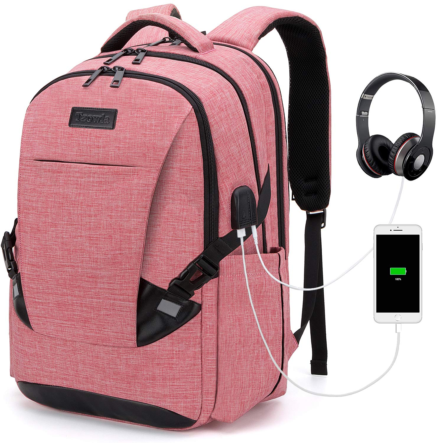 Tzowla Travel Laptop Backpack Waterproof Business Work School College Bag Daypack with USB Charging&Headphone Port for Men Women Boy Girl Student Durable Luggage Backpacks Fit 15.6/17Inch(Red)