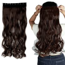 """S-noilite 17""""/23"""" Curly Wave 3/4 Full Head One Piece 5clips Clip in Hair Extensions Synthetic Hair Pieces for Girl Lady Women 48 colors (17"""" - Curly, Medium Brown)"""