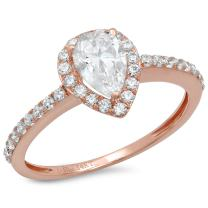 Clara Pucci 1.12 CT Pear Cut Halo Promise Wedding Anniversary Promise Engagement Ring Bridal Band 14k Rose Gold