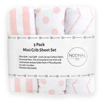 NODNAL CO. Pink Pack n Play Playard Portable Mini Crib Fitted Sheets Set 3 Pack 100% Jersey Knit Cotton Pack and Play for Baby Girl Playpen - Pink/White Chevron, Polka Dot and Stripe 160 GSM Sheet