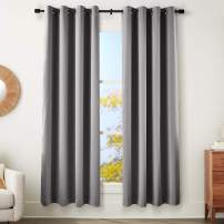 """AmazonBasics 99% Room Darkening Theatre Grade Heavyweight Window Panel with Grommets and Thermal Insulated, Noise Reducing Liner - 52"""" x 84"""", Charcoal Grey"""