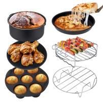 Ultrean Air Fryer Accessories, Set of 6 fit All 4qt, 5.8qt, 6qt,8.5qt Air Fryers, Dishwasher Safe, Non-Stick and BPA Free
