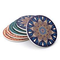 Drink Coasters with Thin Cork Bottom - Set of 6 Moisture Absorbing Stone Coasters - 4 inch Large Table Scratch or Stain Protection for Cup or Glasses