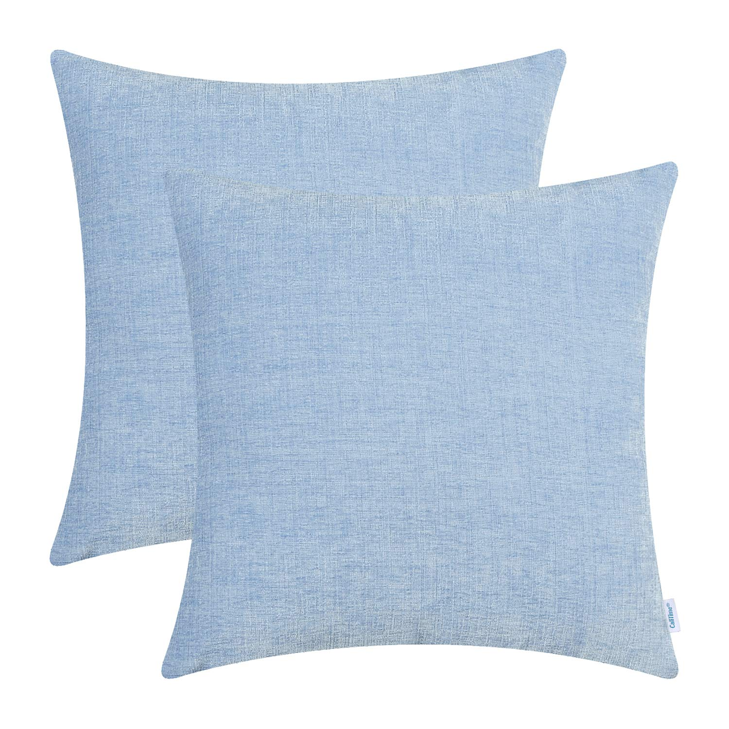 CaliTime Pack of 2 Cozy Throw Pillow Covers Cases for Couch Sofa Home Decoration Solid Dyed Soft Chenille 16 X 16 Inches Baby Blue