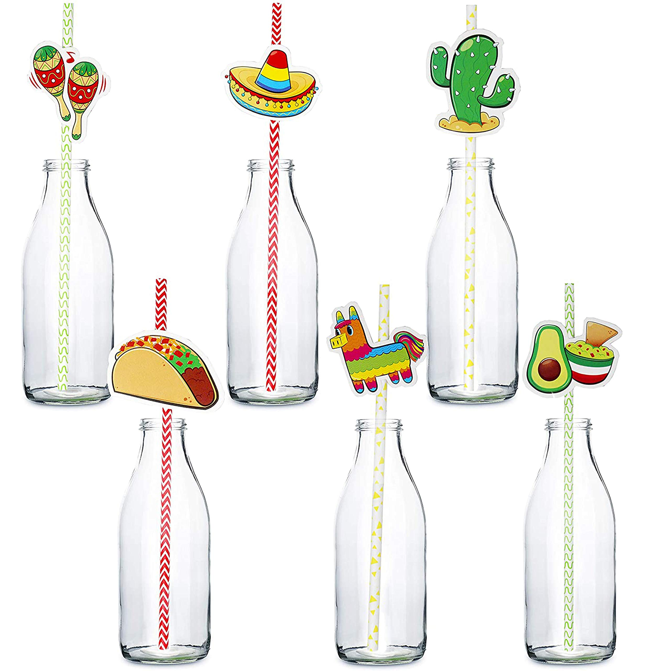 72 Packs Cinco De Mayo Fiesta Paper Striped Straws Party Decoration for Fun Fiesta Taco Party Supplies, Luau Event Photo Props, Mexican Theme for Carnivals Festivals, Dia De Muertos, Coco Theme, Wedding, Birthdays and Party Favors