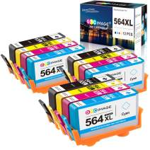 GPC Image Remanufactured Ink Cartridge Replacement for HP 564XL 564 XL to use with DeskJet 3520 3522 Officejet 4620 Photosmart 5520 6510 7520 7525 (3 Black 3 Cyan 3 Magenta 3 Yellow,12-Pack)