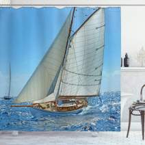"""Ambesonne Nautical Shower Curtain, Sailboat on The Sea Regatta Race Yacht and Windy Weather Competition Theme, Cloth Fabric Bathroom Decor Set with Hooks, 75"""" Long, White Brown"""