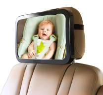 Enovoe Baby Car Mirror with Bonus Cleaning Cloth - Wide, Convex Back Seat Baby Mirror for Car is Shatterproof and Adjustable - 360 Swivel Rear Facing Car Seat Mirror Helps Keep an Eye on Your Infant