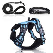 Waldseemüller Dog Harness Collar Leash 3 in 1 Set , with 4 Buckles, Adjustable Reflective Soft Padded Pet Vest with Easy Control Handle, for Small to Large Dogs Daily Walking Running