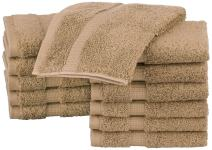 Pinzon Organic Cotton Bathroom Washcloths, Set of 12, Latte