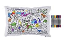 eatsleepdoodle Dinosaur Pure Cotton Soft Pillowcase - Color Your Own Doodle Pillowcase with Fun, Educational Dinosaur Scene - Kid's Dinosaurs Coloring Pillowcase with Washable Felt Tip Fabric Markers