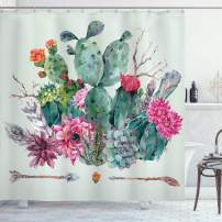 """Ambesonne Cactus Shower Curtain, Spring Garden with Boho Style Bouquet of Thorny Plants Blossoms Arrows Feathers, Cloth Fabric Bathroom Decor Set with Hooks, 75"""" Long, Green Pink"""