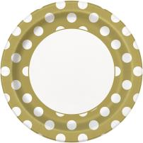 Unique Industries, Polka Dot Paper Plates, 8 Pieces - Gold