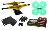 Owlsome 5.25 Metallic Gold/Black Aluminum Skateboard Trucks w/ 52mm Wheels Combo Set