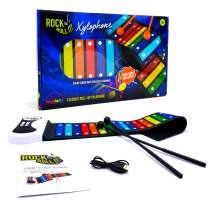 MUKIKIM Rock & Roll It – Rainbow Xylophone. Portable & Flexible Standard Size Electronic Pad with 22 Color Coded Bars & Song Booklet. USB or Battery Powered, Built-in Speaker & Audio Output Support