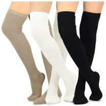 Teehee Women's Fashion Cotton Over The Knee Socks - 3 Pairs Pack