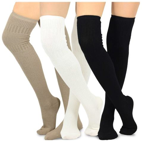 Teehee Women's Fashion Cotton Over The Knee Multi Pair Pack