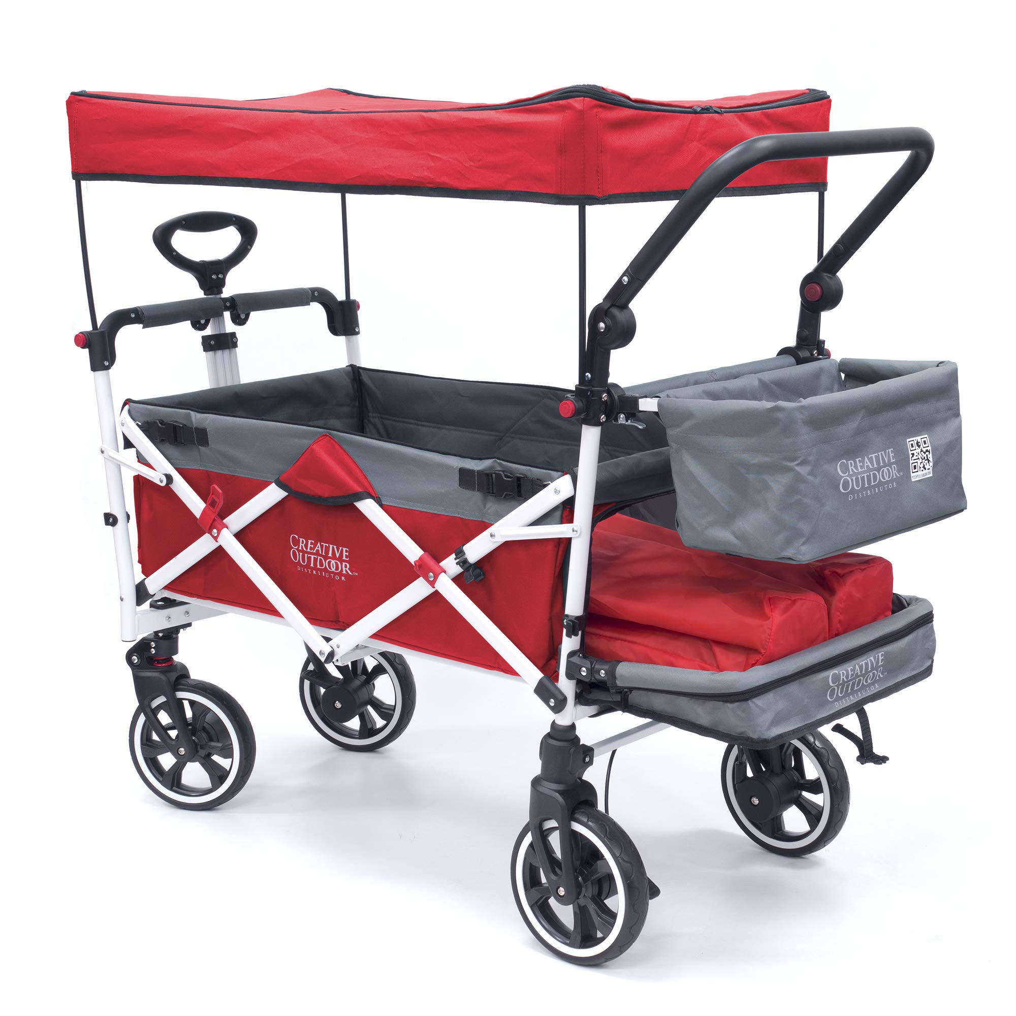 Creative Outdoor Push Pull Collapsible Folding Wagon Stroller Cart for Kids | Titanium Series | Beach Park Garden & Tailgate (Red)