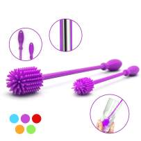 """Silicone Bottle Brush with 15"""" Long Handle [Set of 2] for Cleaning Baby Bottles, Hydro Flasks, Sports Water Bottles, Vases, Narrow Neck Glassware - Includes 15"""" and 9.5"""" Bottle Cleaning Brush (Purple)"""
