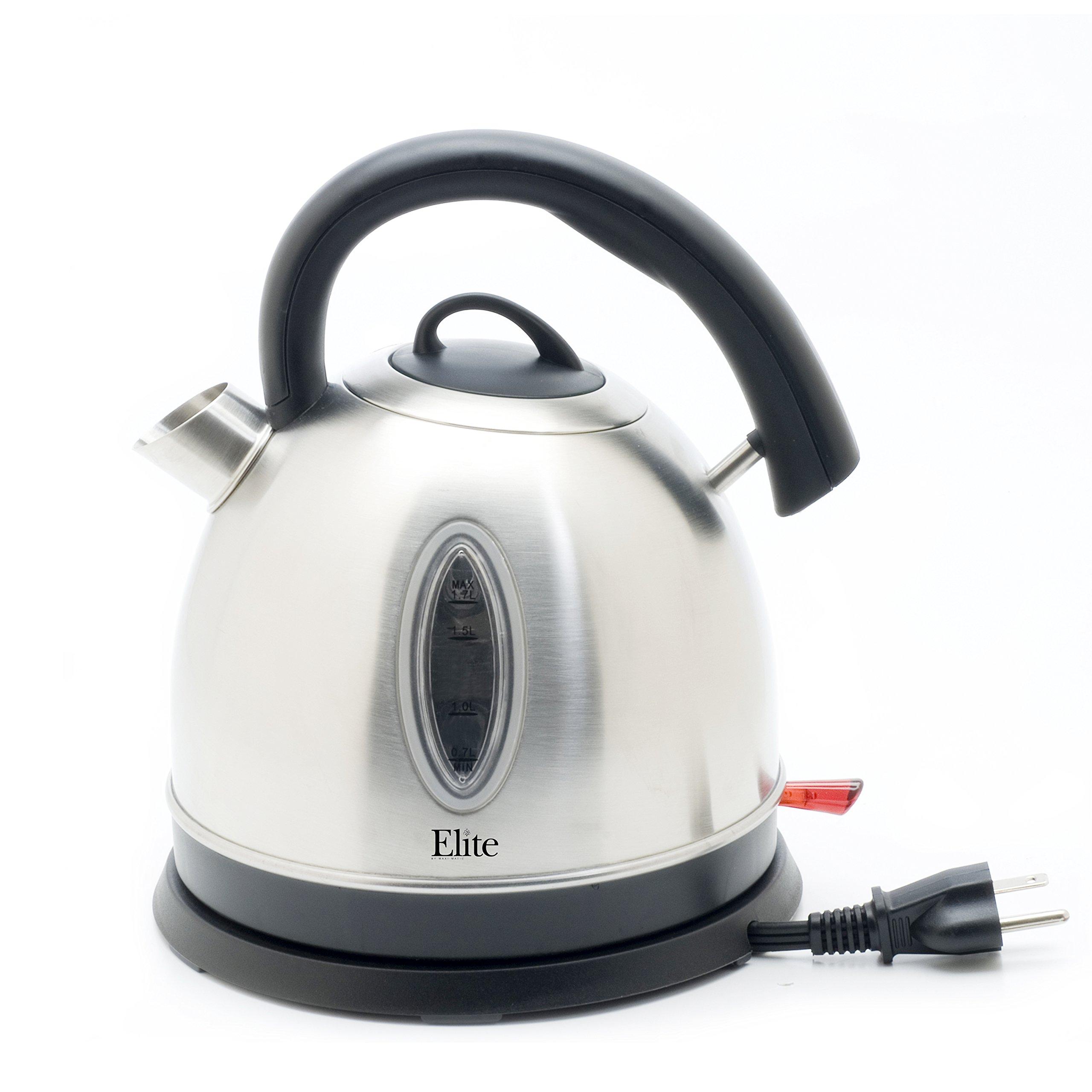 Elite Platinum EKT-6863 Maxi-Matic 1 2/3 Liter Cordless Water Kettle, Stainless Steel