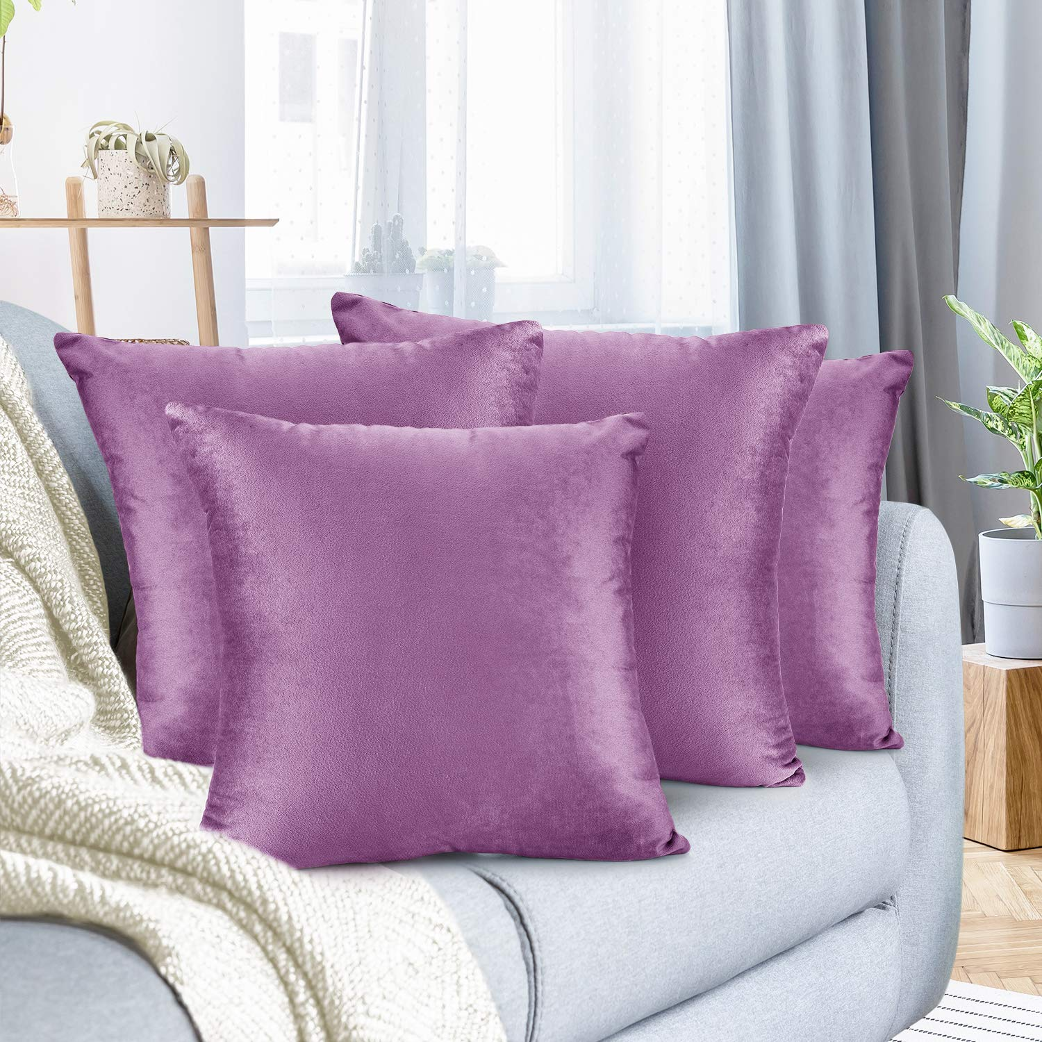 """Nestl Bedding Throw Pillow Cover 22"""" x 22"""" Soft Square Decorative Throw Pillow Covers Cozy Velvet Cushion Case for Sofa Couch Bedroom, Set of 4, Lavender Dream"""