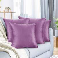 """Nestl Bedding Throw Pillow Cover 26"""" x 26"""" Soft Square Decorative Throw Pillow Covers Cozy Velvet Cushion Case for Sofa Couch Bedroom, Set of 4, Lavender Dream"""