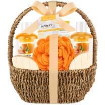 Mother's Bath Spa Gift Basket, Bath & Body Gift Set for Women & Men, Includes Shower Gel, Bubble Bath, Bath Salt, Bath Sponge, Perfect Gift Box for Mother's Day, Birthday, Wedding, Honey & Almond 8pcs