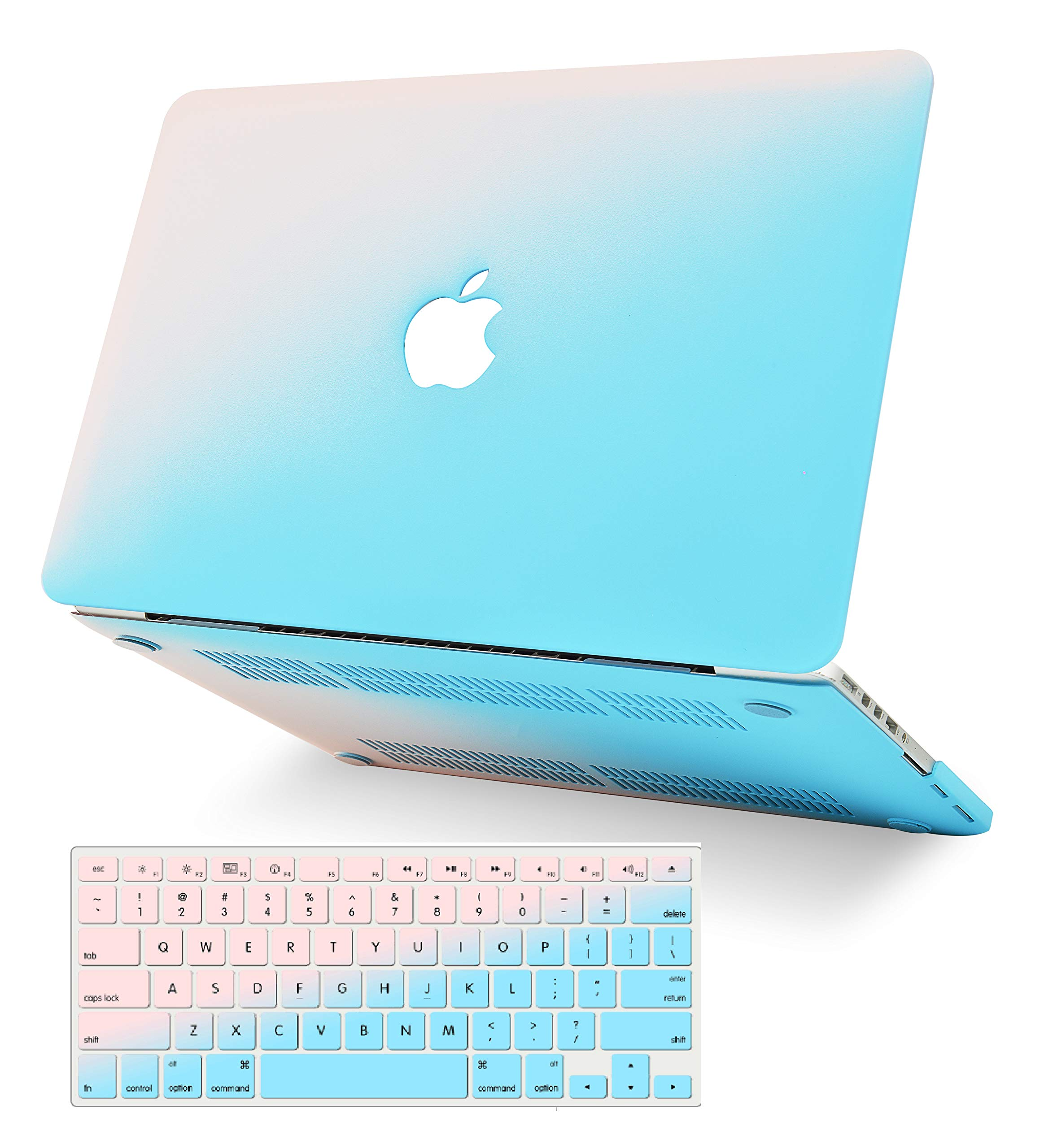 """KECC Laptop Case for MacBook Air 13"""" Retina (2020/2019/2018, Touch ID) w/Keyboard Cover Plastic Hard Shell Case A2179/A1932 2 in 1 Bundle (Pale Pink Blue)"""