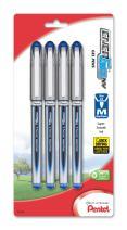 Pentel EnerGel NV Gel Ink Pen, (0.7mm), Medium Point, Metal Tip, Blue Ink, 4 Pack (BL27BP4C)