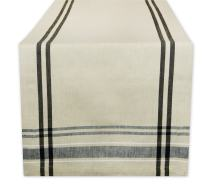 DII 100% Cotton French Tabletop Collection For Everyday Indoor/Outdoor Dining, Special Occasions or Dinner Parties, Machine Washable, Table Runner, 14x108, Taupe w/Black Stripes