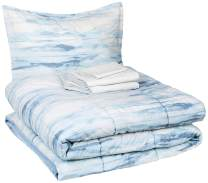 AmazonBasics 6-Piece Comforter Bedding Set, Twin / Twin XL, Blue Watercolor, Microfiber, Ultra-Soft