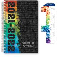 "Dated Middle School or High School Student Planner for Academic Year 2021-2022 (Block Style - 5.5""x8.5"" - Black Painted Brick) - Includes Ruler/Bookmark and Planning Stickers"
