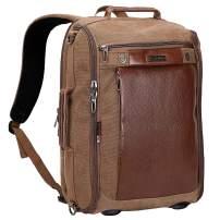 WITZMAN Canvas Laptop Backpack for Men Women Vintage Convertible Travel Rucksack Fits 15.6 inch Laptop