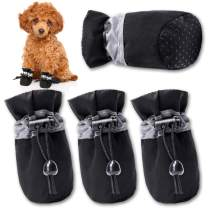 FOKWOW Dog Boots Anti-Slip Dog Shoes for Small Dogs Paw Protector Adjustable Puppy Shoes with Reflective Strip 4PCS