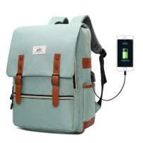 Slim Vintage Laptop Backpack, Unisex School Bag College Rucksack for Girls Boys, Water Resistant Work Travel Backpack for Women Men with USB Charging Port, Fits 15.6 Inch Laptop Macbook