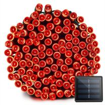 Vmanoo Solar Christmas Lights 72ft 22m 200 LED 8 Modes Solar Fairy String Lights for Outdoor, Gardens, Homes, Wedding, Christmas Party, Waterproof (Red)
