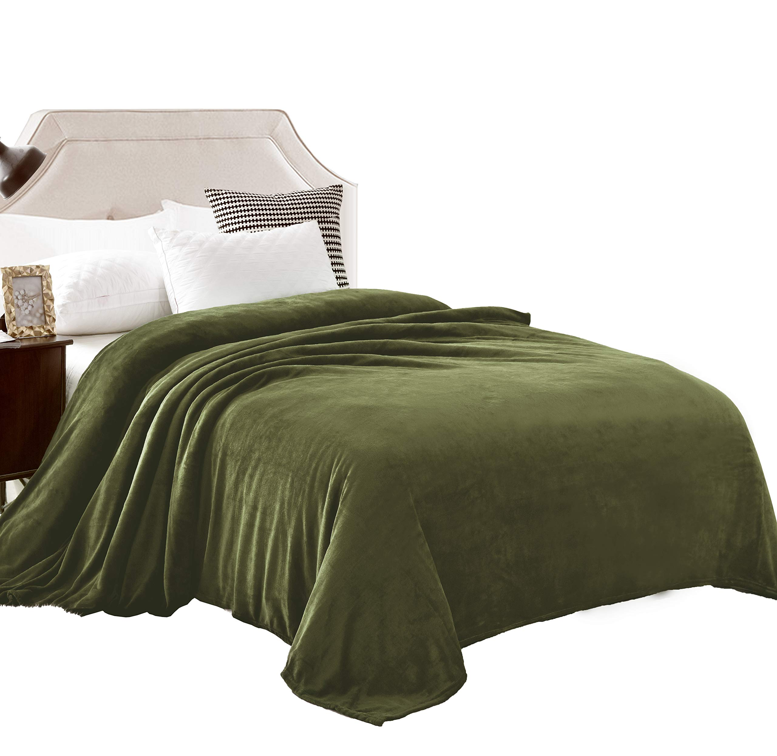 """Exclusivo Mezcla Twin Size Flannel Fleece Velvet Plush Bed Blanket as Bedspread/Coverlet/Bed Cover (60"""" x 80"""", Olive Green) - Soft, Lightweight, Warm and Cozy"""