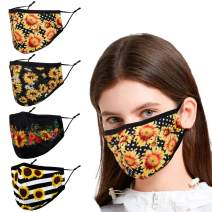 Reusable Cloth Face Masks Women Female Adult, Black Yellow Sunflower Funny Designer Breathable Washable Adjustable Cotton Fabric Sports with Nose Wire Mascarillas Tela para Diseño