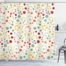 "Ambesonne Modern Art Shower Curtain, Grunge Polka Dots Spots Backdrop Motif Retro Nostalgic Aesthetic Image Print, Cloth Fabric Bathroom Decor Set with Hooks, 84"" Long Extra, Beige Burgundy"