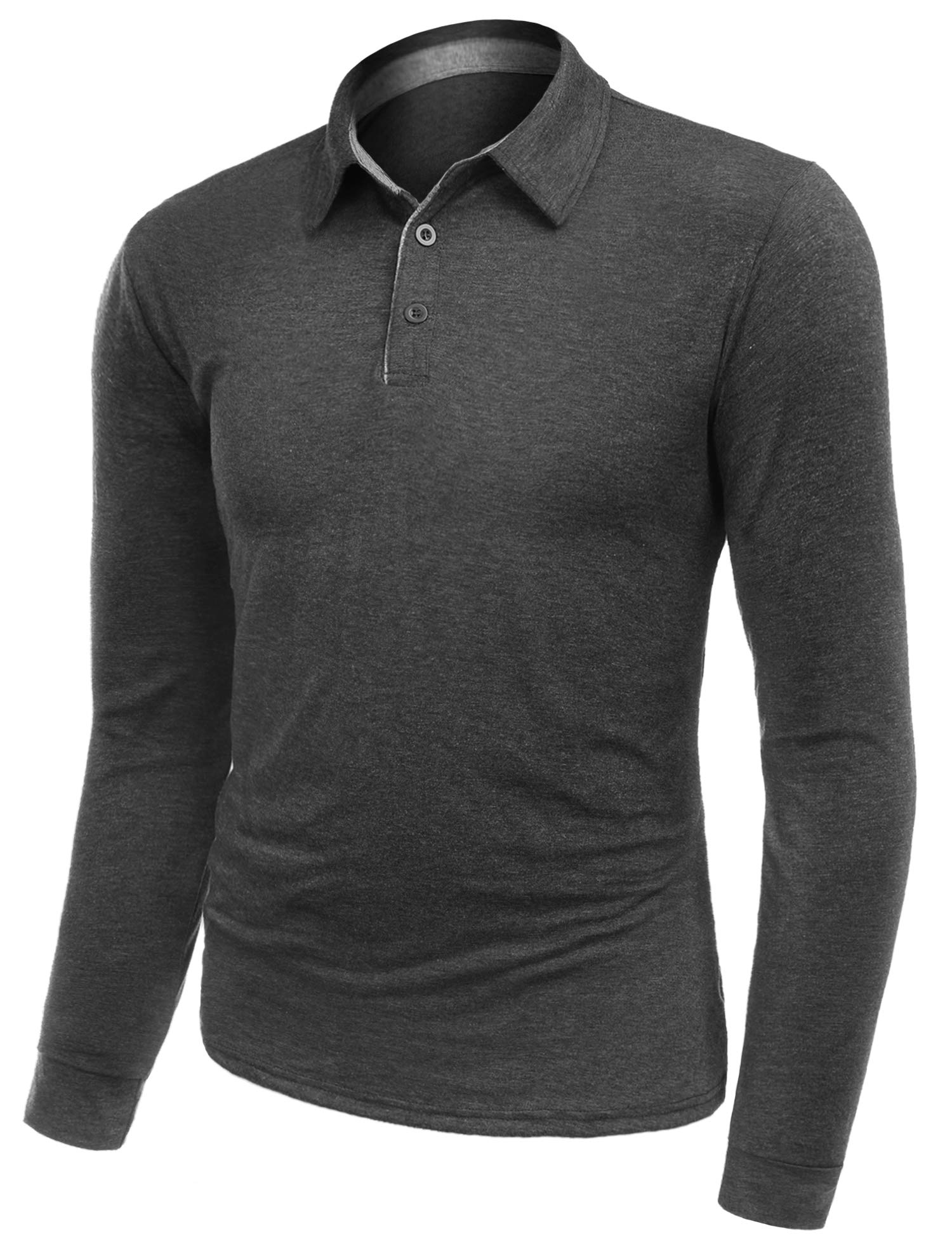 AUDIANO Mens Polo Shirts Long Sleeve Golf T Shirts Casual Outdoor Performance Button Polo Tops