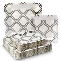 Silver Spoons 1887X12 Disposable Paper Party Plates Dinnerware Set, 216 Servings