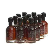 Award Winning Escuminac Unblended Maple Syrup 12 x 50ml mini glass bottles - Canadian Grade A - Dark Robust - Pure Organic Single Forest - Late Harvest 1.7 fl oz Size - Weddings Favors - Holidays