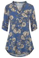 Helloacc Womens Notch Neck Floral Tunic Shirts 3/4 Roll Sleeve Work Casual Tops