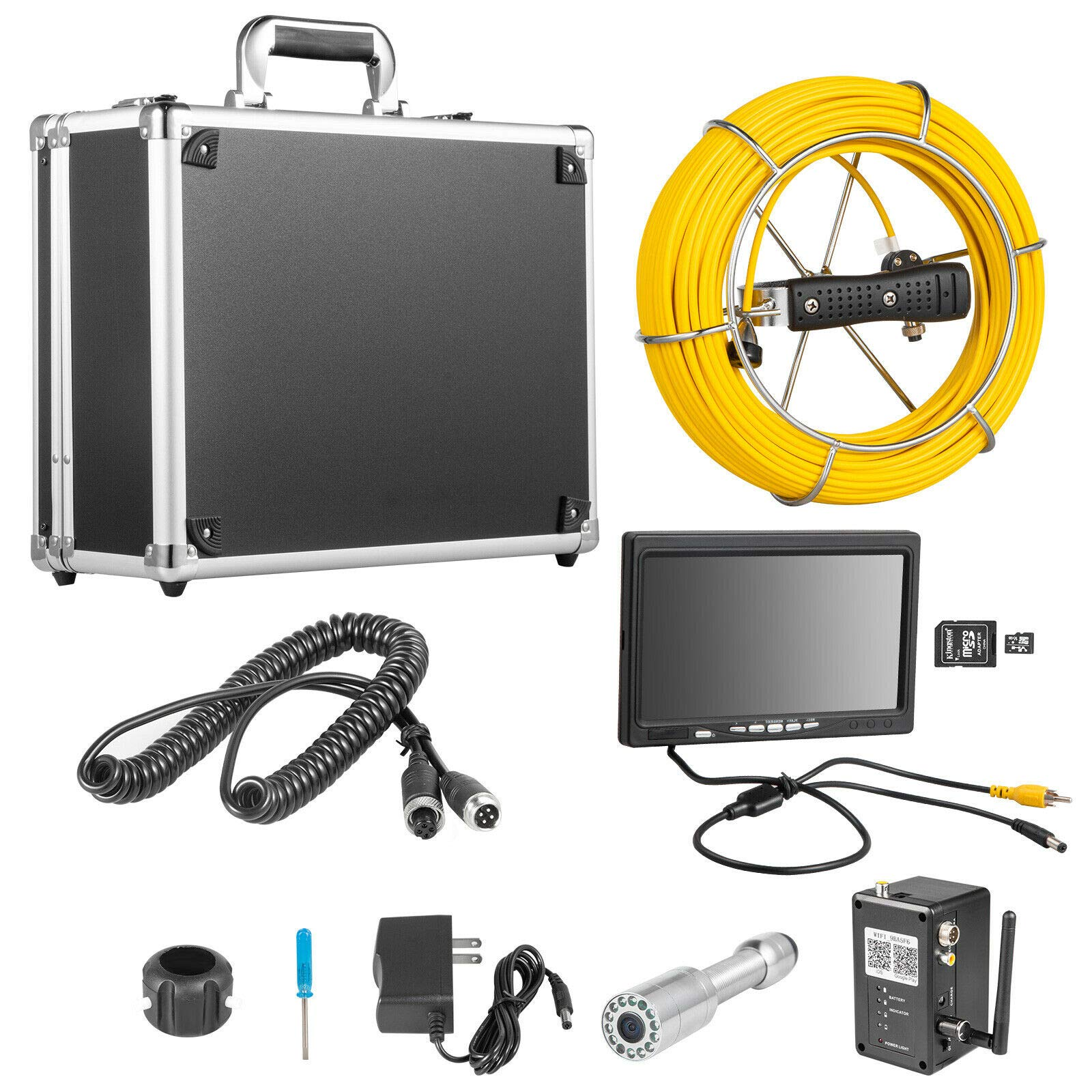 VEVOR 9 Inch WiFi 20M with APP Taking Pictures Video Recording 23MM Industrial Sewer Camera IP68 Waterproof 12 pcs LED Lights Pipe Inspection Camera