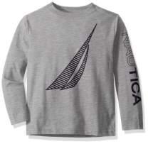 Nautica Boys' Big Long Sleeve Sail Print Logo Tee