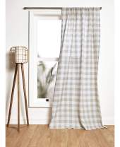 Solino Home 100% Pure Linen Buffalo Check Curtain – 52 x 84 Inch, Lightweight Rod Pocket Window Panel – Handcrafted from European Flax – Natural and White
