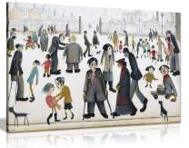 L.S Lowry The Cripples Painting Canvas Print Wall Art Picture Home Decor (12x8in)