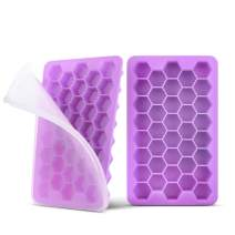 Silicone Ice Cube Trays with Lids Easy Release ZTXPRO Food Storage BPA Free Flexible Ice Maker for Drinks, Beverages, Whiskey, Cocktails and Baby Food Dishwasher Safe (2 Pack) - Purple