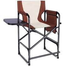 Tall Folding Directors Chair, Portable Camping Chair Lightweight Aluminum Makeup Artist Collapsible Chair with Side Table,Storage Bag Footrest Supports 300lbs Outdoor Indoor,24 inch Seat Height